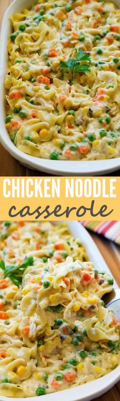 The Chicken Noodle Casserole has been in my family for decades. It is so simple to make and we all love it. Leftovers reheat really well too! #chicken #noodle #casserole