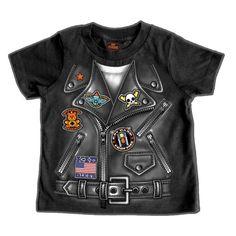 Motorcycle Boys Leather Jacket T-shirt Short Sleeve Black 12M 18M 2T 4T New #RabbitSkins #BikerMotorcycleLeatherJacket #Everyday
