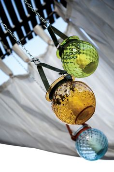 Handmade glass lanterns by Mdina Glass... with rope or leather handles in a range of shapes, sizes and colours. #lanterns #glassware #homedecor #handmadeglass