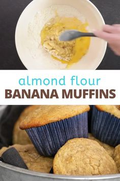 Grain free almond flour banana muffins, packed with nearly a pound of mashed bananas, are hearty and filling. They freeze beautifully, too, so make a double batch! Best Gluten Free Desserts, Gluten Free Cupcakes, Gluten Free Recipes For Breakfast, Gluten Free Baking, Muffin Recipes, Fodmap Recipes, Paleo Recipes, Candy Recipes, Dessert Recipes