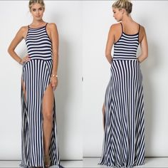 """SALE Spaghetti Strap Double Slit Maxi Sleeveless bold stripe double front slit maxi dress. 95% Rayon 5% Spandex. Item is brand new without tags. Color is NAVY BLUE. Measurements for LARGE: Length: 58"""" app, Waist: 13.5"""" app, Bust: 16"""" app. Dress does split all the way up. Any questions please ask! PRICE IS FIRM! Dresses"""
