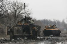 Armoured vehicles, destroyed during battles between the armed forces of the separatist self-proclaimed Donetsk People's Republic and the Ukrainian armed forces, are seen in Vuhlehirsk, Ukraine, February 6, 2015. REUTERS/Maxim Shemetov