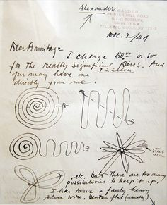 Alexander Calder - Letter to Kenneth Armitage with 6 drawings for jewelry