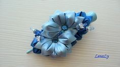Kanzashi fabric flowers hair clip. by LenaLy on Etsy