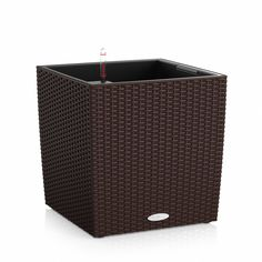 Cube shaped planter for large plants and big impact. Self-watering for easy care and healthy plants Trough Planters, Rustic Planters, Wicker Planter, Patio Planters, Planter Table, Planter Accessories, Strawberry Planters, Barrel Planter, Hanging Flower Baskets