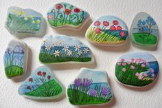 Unique, hand painted sea glass and beach pottery art magnets - Flowers