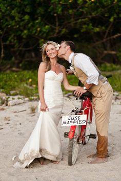 beach wedding #wedding #photo #bicycle #red #kiss #groom #bride