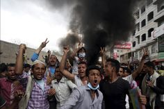 Anti-Houthi protesters demonstrate in the city of Taiz. Soldiers loyal to Yemeni president Abd-Rabbu Mansour Hadi fought off Shia Houthi militiamen heading for the Sunni leader's seat of power in Aden. The conflict was poised to escalate as Egypt said that it was ready to send troops. The Houthi rebels said that the country will be a 'graveyard of invaders' if a ground offensive followed Saudi-led air strikes