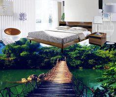 Piso de pvc personalizado 3d pintura de paisagem papel de parede piso De Madeira de bambu 3d papéis de parede para sala de estar banheiro pisos de vinil(China (Mainland))