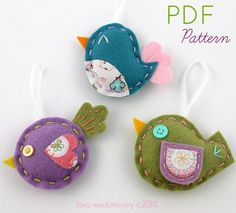 PDF Pattern Felt Bird Softie Ornaments Mini 3 Ways Brooch Pin DIY Tutorial Crafts