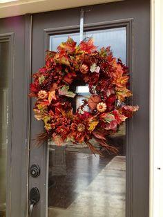 Fun Fall Wreath on the front door