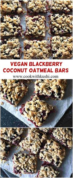 Blackberry Coconut Oatmeal Bars is a healthy and easy to prepare vegan fruit dessert prepared using fresh berries and has a crunchy crumb topping. This can also be served as a snack or perfect breakfast on the go! Overall a recipe that you will fall in love with! #blackberry #coconut #oatmeal #bars #recipe #vegan #sweet #dessert #holiday #spring #fall #summer #party #buzzfeedfod #feedfeed