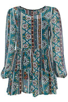 ROMWE | ROMWE AZTEC Floral Print Long-sleeved Chiffon Dress, The Latest Street Fashion