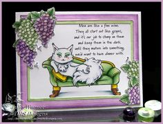 Cat Grapes F4A421 by Julie Warner (justwritedesigns) for DRS Designs