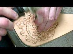 Leather Tooling - Oak Leaves and Acorns - Leather Stamping Tutorial - Leathercraft. Leather tooling tutorial process of beveling around the oak leaf and acor...