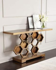 John-Richard Collection Bumble Bee Console Table.. very unique table, love the octagon pattern..#ad #homedecor
