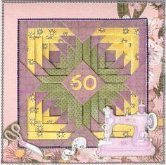 Pineapple Blossom Quilt Block Birthday Card