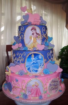 Children's Birthday Cakes - Disney Princesses Cake (ok,  who can make this for aubrie? ? She would die?!)