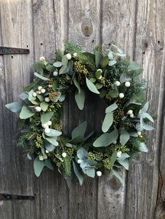 Seeded Eucalyptus + Snow berries Wreath Full of texture and detailDoor wreath heart door wreath times different Easter decorations spring Easter door wreath spring decoration Christmas Door Wreaths, Christmas Flowers, Holiday Wreaths, All Things Christmas, Christmas Decorations, Christmas Christmas, Winter Wreaths, Rustic Christmas, Christmas Ideas