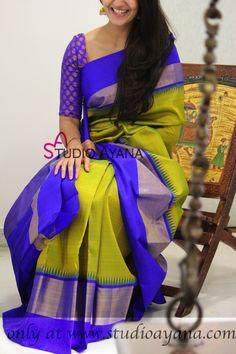 Hamsanandhi - Vibrant green Kanchipuram silk saree with blue pallu!  #studioayana #kanjivaram #kanchipuramsarees #stylish