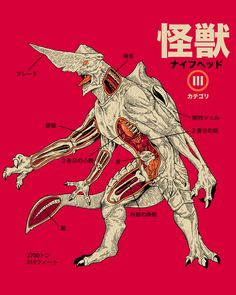Inspired by the anatomical japanese diagrams, here's the proper one for the KnifeHead one of the Kaijus on Pacific Rim. Human Figure Drawing, Figure Drawing Reference, Anatomy Reference, Pacific Rim Kaiju, Japanese Monster, Anatomy Art, Head Anatomy, Anatomy Drawing, Science Fiction