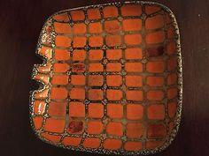 Midcentury Modern Raymor Art Pottery Ashtray Made in Italy 1960s Orange Repaired