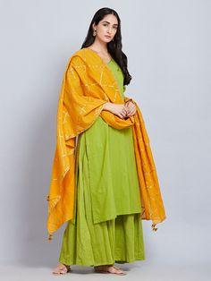 Green Cotton Kurta with Hand Block Printed Sharara and Yellow Gota Dupatta - Set of 3 Indian Wedding Outfits, Pakistani Outfits, Indian Outfits, Simple Kurti Designs, Kurta Designs Women, Blouse Designs, Dress Indian Style, Indian Fashion Dresses, Indian Wear