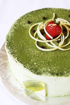 Green Tea Ice Cream Cake - yes, trust me, green tea powder is actually good on sweets, and so good for you!  Look at the recipe hint about dissolving the green tea powder to avoid lumps.