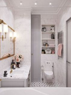 White marble bathroom, grey cabinets, open shelving, black and white painted tile, gold mirror. Home design decor inspiration ideas. Interior, Bathroom Trends, White Marble Bathrooms, Apartment Bathroom, Bathroom Interior, Grey Cabinets, Home Design Decor, Bathrooms Remodel, Bathroom Decor