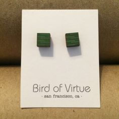 NEW Handmade Wood Stud Earrings - Green Squares Green paint finish & square shape. Made of strong, lightweight hardwoods + laser cut to perfection. They are finished on high-quality surgical steel posts + surgical steel/non-nickel backs. Handmade in SF Bird of Virtue Jewelry Earrings