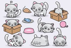Premium Vector Clipart – Kawaii Cats – Cute Cats Clipart Set – High Quality Vectors – Instant Downlo I loved these super cute kittens ! Cat Clipart, Cat Vector, Vector Clipart, Food Clipart, Chat Kawaii, Kawaii Cat, Cute Animal Drawings, Kawaii Drawings, Art Mignon