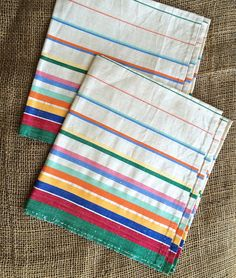 Vintage Kitchen Towels, Pure Linen, Rainbow Striped Tea Towels, NOS, Retro  Linens, Vintage Linens, Kitchen And Dining, Yard Goods