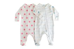 """No need for a shirt, pants or shoes!  A personalized footed onesie with stars is the only thing your child will need. These are truly one-of-a-kind, and they are perfect as a """"going home"""" outfit.    SIZES: Newborn - 12 months      Newborn (up to 8lbs or 18in)      0-3 months (8-11lbs or 18-21..."""