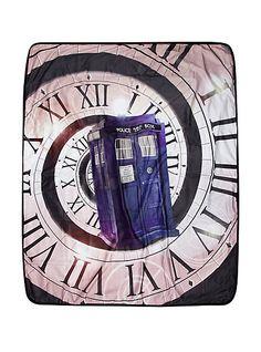 Doctor Who TARDIS Time Warp Velveteen Throw   Hot Topic