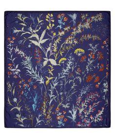 Navy Modal Winter Floral Print Scarf, Liberty London
