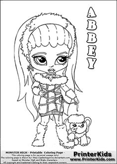 Monster High - Abbey Baby Chibi Cute - Coloring Page