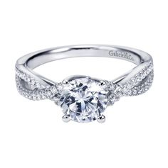 Gabriel Co 14K White Gold Criss Cross Halo Cathedral Engagement Ring - Availability: In stock.