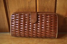 Vintage Woven Leather Wallet by SINGEDandFRAYED on Etsy