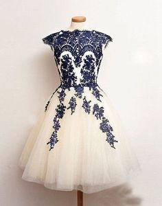 Embroidery Mesh Cap Sleeve Short Prom Dress - Oh Yours Fashion - 4