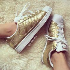 Adidas Superstars Glitter Gold