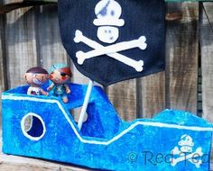Avast, ye landlubbers! If ye be lookin' for pirate crafts for kids, this Papier Mache Pirate Ship be the best among recycled toy crafts. Make a simple pirate playset from a cardboard box for quick and easy homemade toys that kids love to play with. Sail the seven seas and seek your plunder on this fine ship!