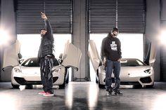 Three 6 Mafia with a McClaren and a Lamborghini.