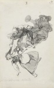 Francisco de Goya (1746- 1828) Bajan riñendo, (They descend quarrelling) 'Witches and Old Women' Album (D), page 1 c. 1819-23 Brush, black and grey ink 235 x 143 mm Private Collection