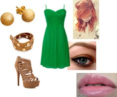 """""""Green + Brown"""" by tatasaleh ❤ liked on Polyvore"""