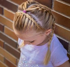 Hair Styles For School I like the way tiara braid ends hair is just pulled back . Hair Styles For School I like the way tiara braid ends hair is just pulled back and tied Little Girls Ponytail Hairstyles, Little Girl Ponytails, Braided Hairstyles For School, Flower Girl Hairstyles, Princess Hairstyles, Diy Hairstyles, Halloween Hairstyles, Hairstyle Short, Natural Hairstyles