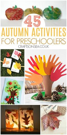 All the inspiration you need in one place with 45+ autumn activities for preschoolers including crafts, colouring pages, slime, leaf crafts, writing trays and sensory play #fall #preschool #autumn #kidsactivities Autumn Activities For Kids, Preschool Art Projects, Autumn Crafts Preschool, Craft Activities For Kids, Preschooler Crafts, Toddler Crafts, Preschool Ideas, Motor Activities, Daycare Ideas
