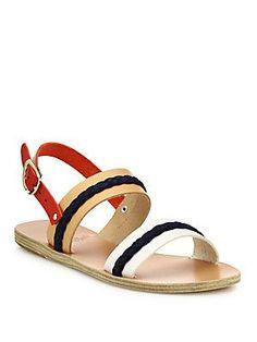Ancient Greek Sandals Amphipolis Suede-Trim Leather Sandals