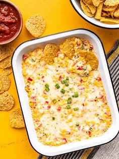 This creamy, cheesy hot corn dip will be the star of the show at your next party, gathering, or BBQ. Easily to double for larger crowds! BudgetBytes.com Appetizer Dips, Appetizer Recipes, Snack Recipes, Dip Recipes, Free Recipes, Vegetarian Recipes, Healthy Recipes, Casserole Dishes, Casserole Recipes