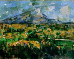 PAUL CEZANNE (French Post-impressionist):  Mt. St. Victoire, 1902. Philadelphia Museum of Art. No one is sure why Cézanne returned to this subject so often. The mountain stands out boldly from its surroundings, just as Cézanne stood apart from his fellow artists, and both are closely linked to the artist's native Provence. Perhaps his many paintings of this mountain reflect his love of Provence, or his interest in discovering new aspects of a familiar place.