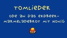 Zeichnung: Erdbeermarmeladebrot und Liedtitel auf blauem Hintergrund (Bild: SWR)